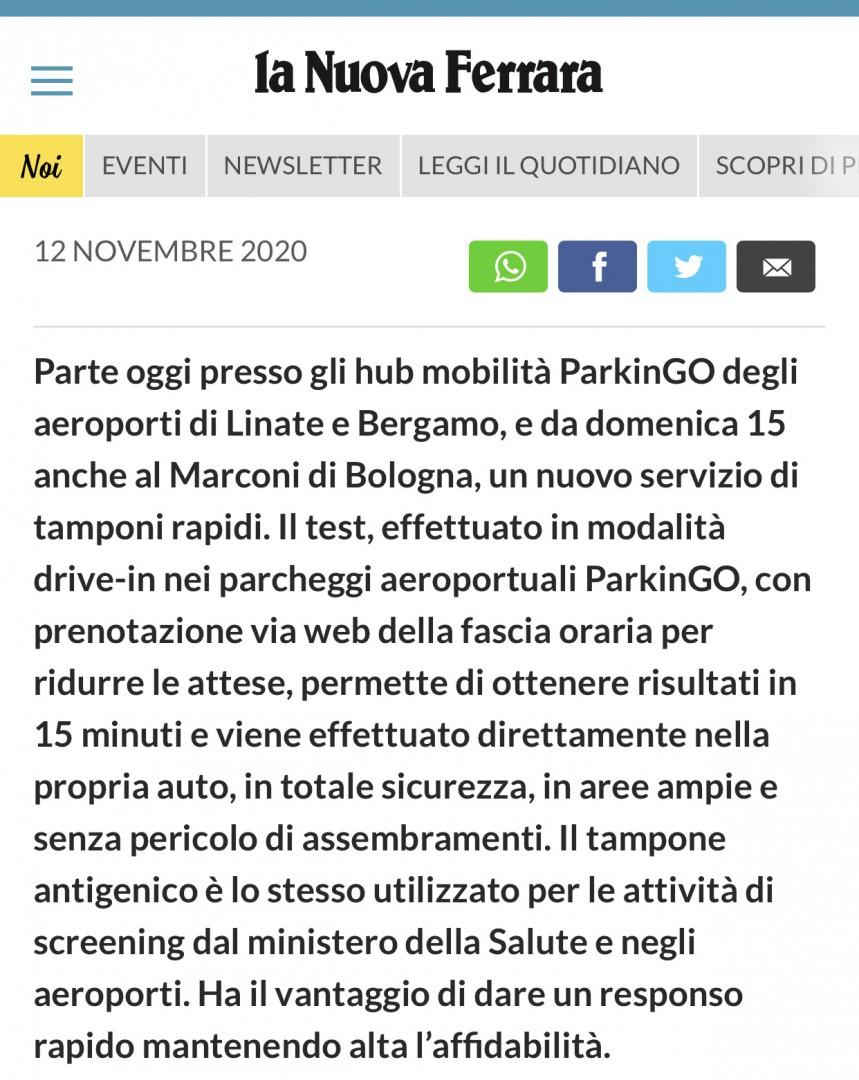 ParkinGO Group Campagna Tamponi Rapidi